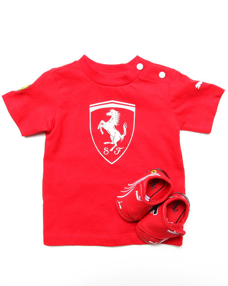 Puma Boys Red 2 Pc Set Ferrari Crib Bootie & Tee (Infant)