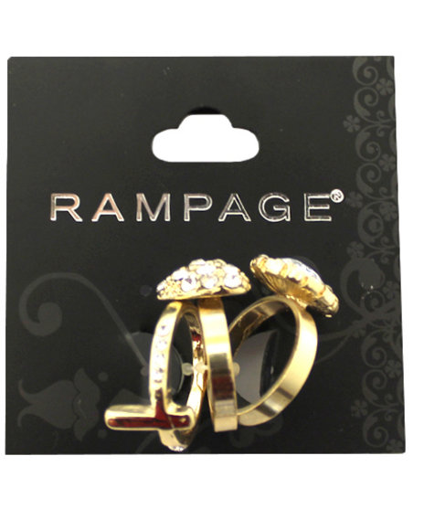 Rampage Women Heart Cross Bling Ring Trio Gold 1SZ