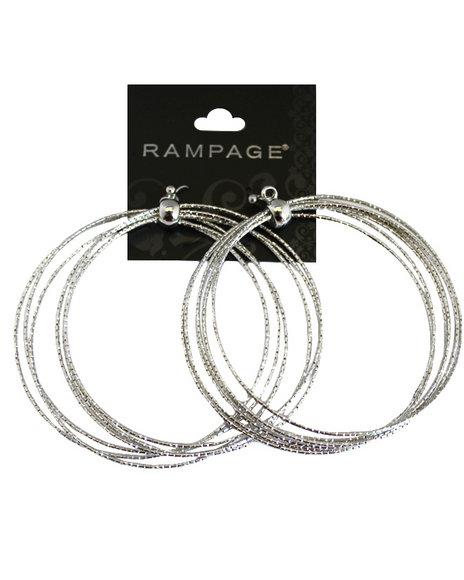 Rampage Women Large Bangle Hoops Earrings Silver