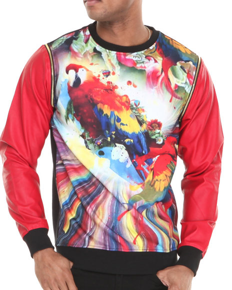 Buyers Picks - Men Red Parrot Swirl Vegan Leather Zip Off Sleeve Crewneck Sweatshirt