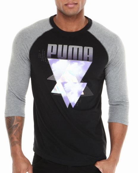 Puma Black Logo 3/4 Raglan Tee