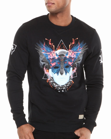 Entree - Men Black Mosaic Crewneck Sweatshirt - $25.99