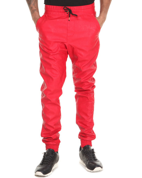 Basic Essentials - Men Red Semi Drop Crotch Faux Leather Jogger Pants
