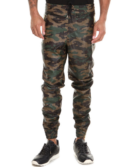 Buyers Picks - Men Camo Tapered Fit Faux Leather Jogger Pants