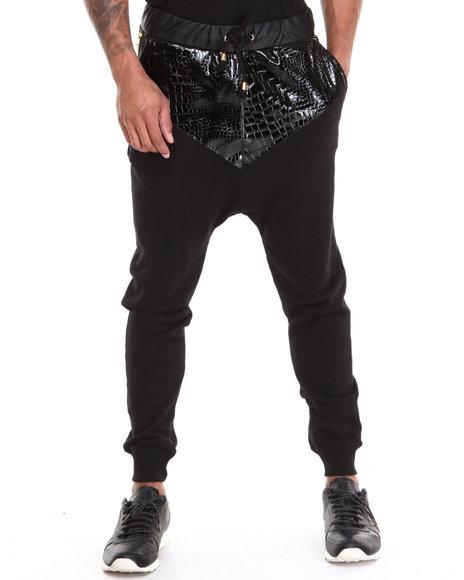 Akademiks Black Sesto 12 Faux Snakeskin Drop Crotch Premium Jogger Pant
