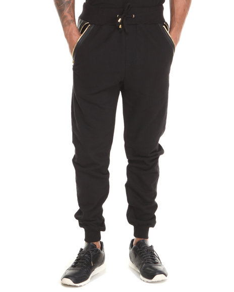 Akademiks Black Gallardo 03 Faux Leather Premium Jogger Pant
