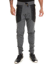 Basic Essentials - Semi Drop Crotch Faux Leather Trim Pants