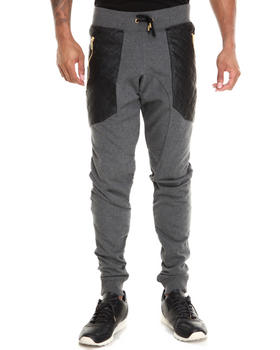 Basic Essentials - Semi Drop Crotch Faux Leather Trim Pants