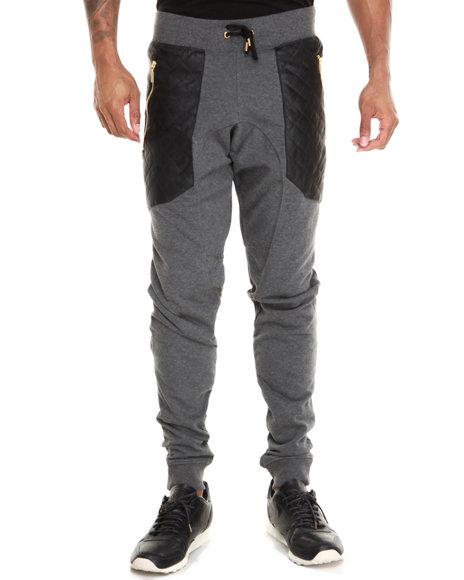 Basic Essentials - Men Grey Semi Drop Crotch Faux Leather Trim Pants