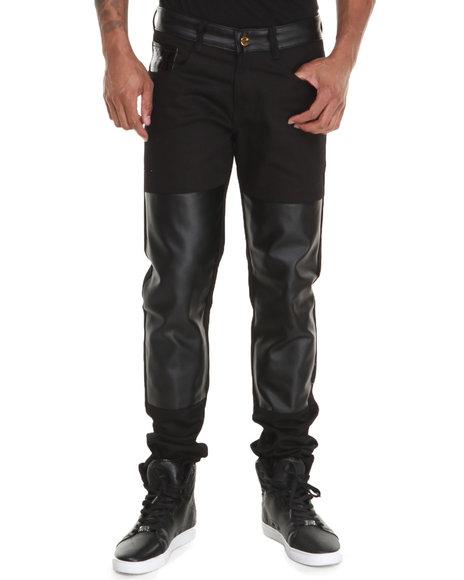 Akademiks - Men Black Reventon 08  Faux Leather Detail Premium Denim Jeans - $56.99