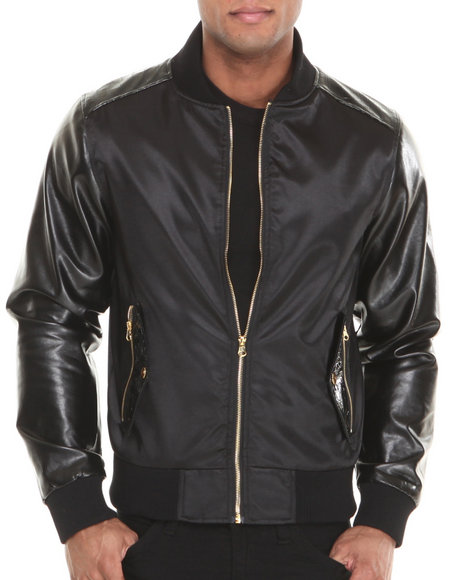 Akademiks - Men Black Islero 68 Faux Leather Full Zip Premium Baseball Jacket