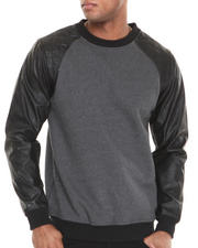 Sweatshirts & Sweaters - Faux Leather Sleeve with Quilted Detail Crewneck Sweatshirt