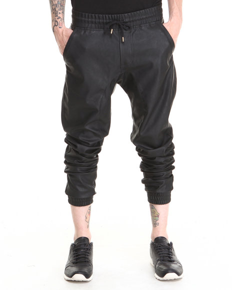 Basic Essentials - Men Black Semi Drop Crotch Faux Leather Jogger Pants
