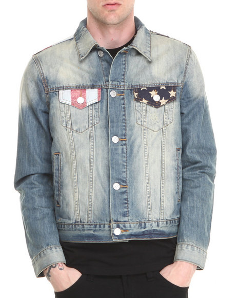Kilogram - Men Light Wash Americana Denim Jacket