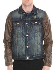 Men - Crinkle Brown Leather - Sleeved Denim Jacket