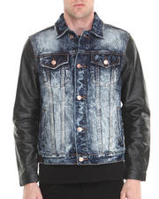 Men - Dark Wash Black Leather - Sleeved Denim Jacket
