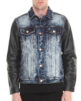 Kilogram - Dark Wash Black Leather - Sleeved Denim Jacket