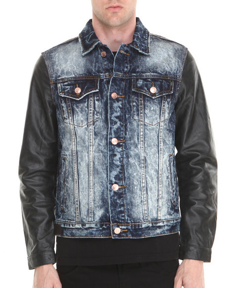 Kilogram - Men Dark Wash Dark Wash Black Leather - Sleeved Denim Jacket