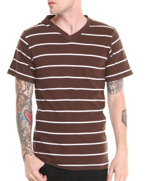 Basic Essentials - Men Brown,White Vneck Striped Tee