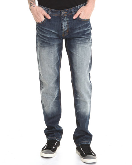Kilogram - Men Dark Wash Construction Spattered Denim Jeans