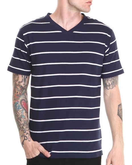 Basic Essentials - Men Navy,White Vneck Striped Tee - $9.99