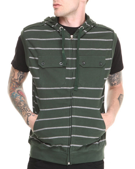 Basic Essentials - Men Grey,Olive Sleeveless Striped Hoodie