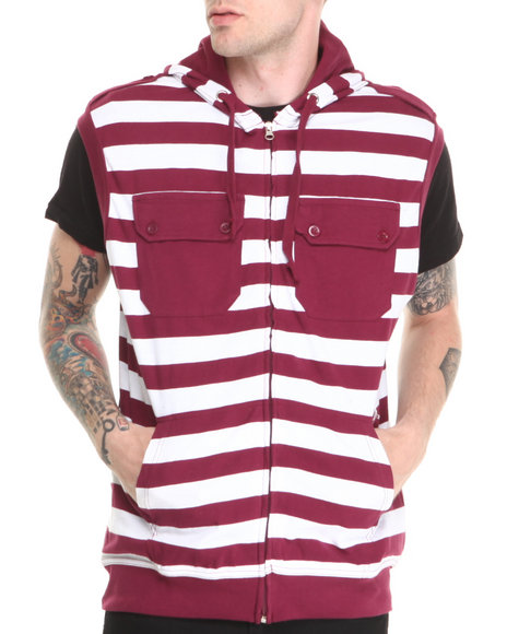 Basic Essentials - Men Maroon Sleeveless Striped Hoodie