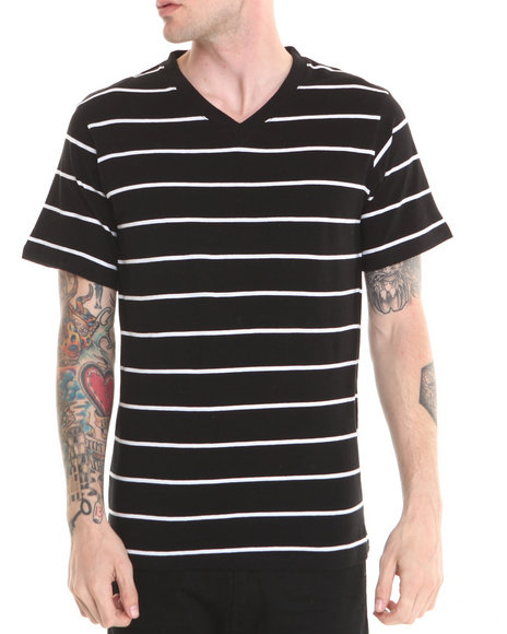 Basic Essentials - Men Black,White V-Neck Striped Tee - $7.99