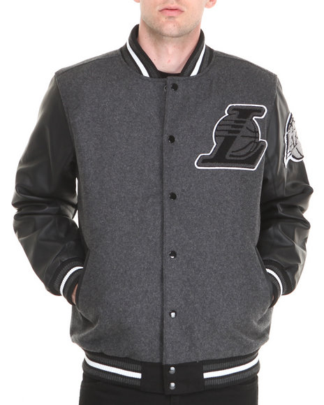 Nba, Mlb, Nfl Gear - Men Charcoal Los Angeles Lakers Bogue Varsity Jacket