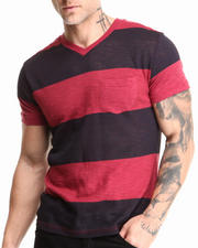 Buyers Picks - Large Stripe Slub Pocket V-Neck Tee