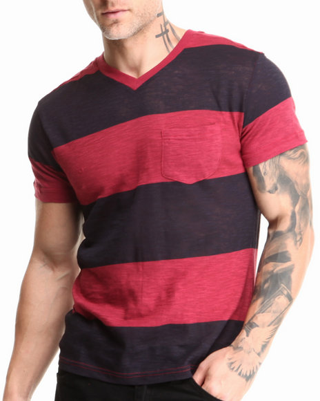 Buyers Picks - Men Maroon,Navy Large Stripe Slub Pocket V-Neck Tee - $12.99