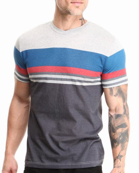 Buyers Picks - Men Grey,Navy,Red Retro Stripe V-Neck Tee - $17.99