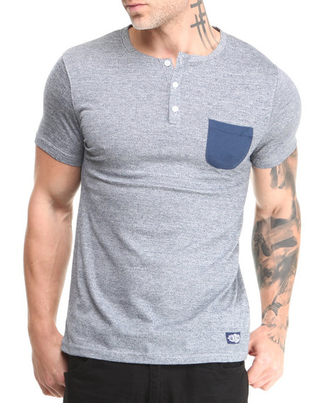 Buyers Picks - Men Navy Short Sleeve Pocket Henley
