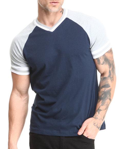 Buyers Picks - Men Grey,Navy Varsity Stripe Colorblock V-Neck Tee - $12.99