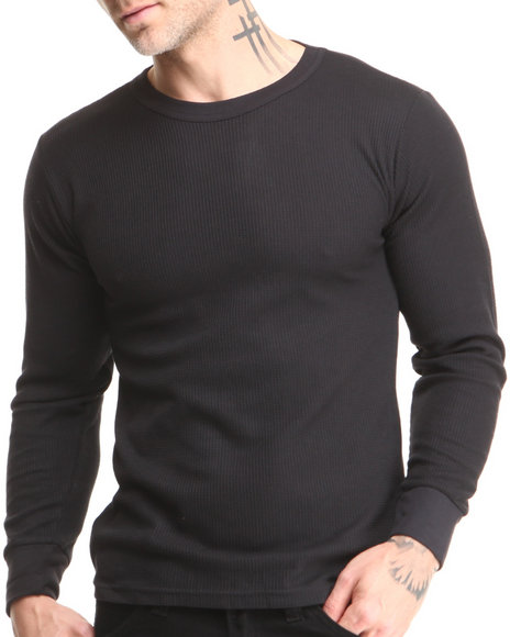 Men Black Thermal Knit Top