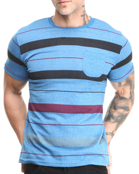 Buyers Picks - Men Blue Marl Striped Pocket Crew Neck Tee