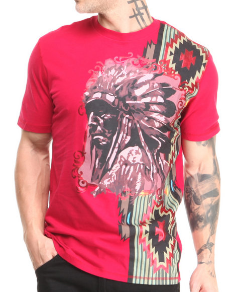 Heritage America - Men Red Native Engineered Print S/S Tee W/ Applique