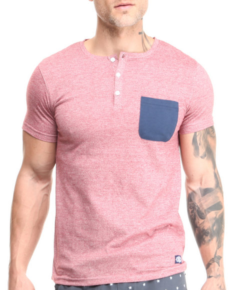 Buyers Picks - Men Maroon Short Sleeve Henley W/ Front Pocket