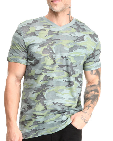 Buyers Picks - Men Camo Short Sleeve Camo V-Neck Tee