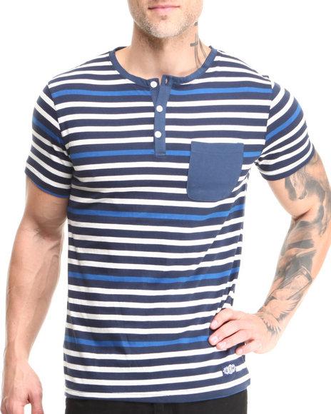Buyers Picks - Men Navy Short Sleeve Henley W/ Front Pocket