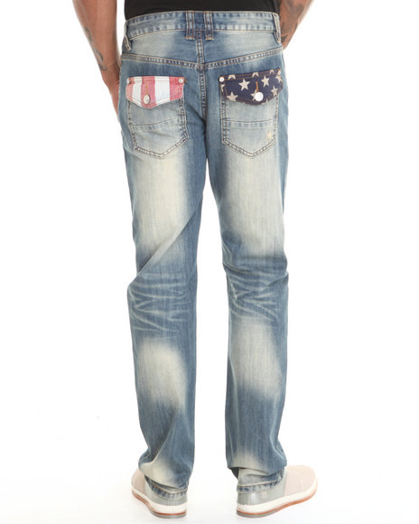 Kilogram - Men Light Wash Americana Denim Jeans