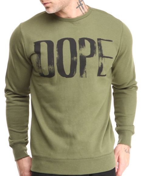 DOPE Olive Painted Crewneck Sweatshirt