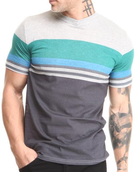Buyers Picks - Men Blue,Grey,Teal Retro Stripe V-Neck Tee - $15.99