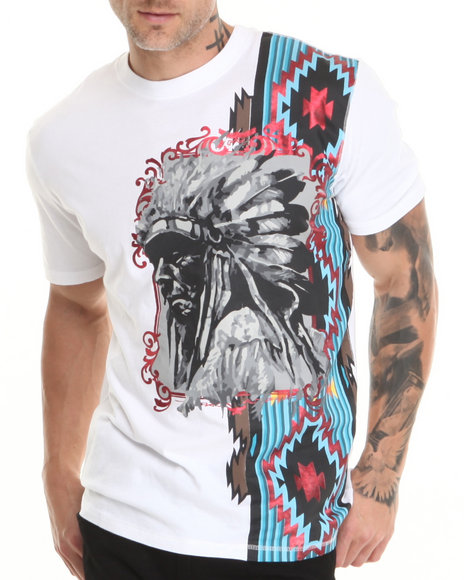 Heritage America White Native Engineered Print S/S Tee W/ Applique