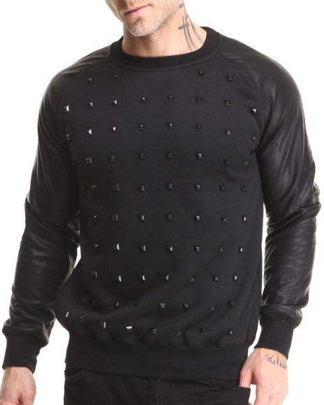 Rolling Paper Black Studded Pu Crew Sweatshirt