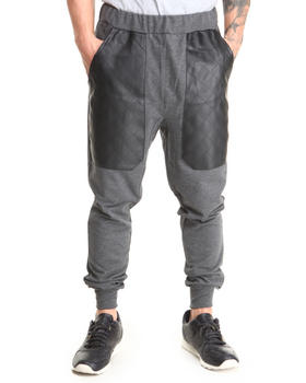 Basic Essentials - Quilted Vegan Leather Patch French Terry Jogger Sweatpants