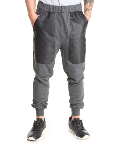 Basic Essentials - Men Charcoal,Black Quilted Vegan Leather Patch French Terry Jogger Sweatpants