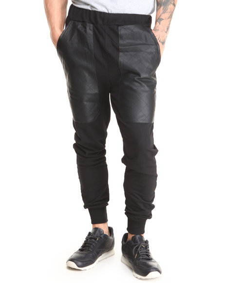 Basic Essentials - Men Black Quilted Vegan Leather Patch French Terry Jogger Sweatpants - $43.99