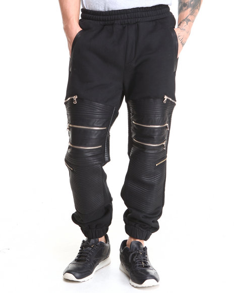 Rolling Paper Black Pu Zipper Fleece Sweat Pant