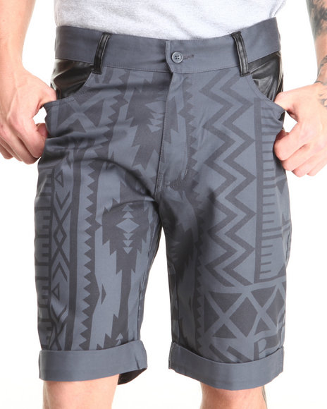 Buyers Picks - Men Grey Aztec Print With Vegan Leather Chino Shorts - $20.99